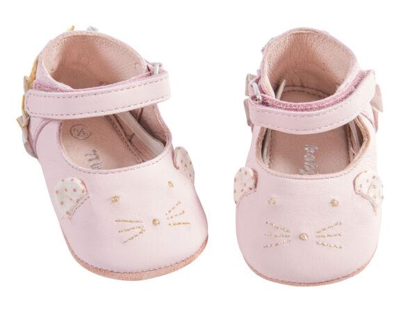 moulin roty 664520 δερμάτινα παπούτσια μωρού 0-6 μηνών