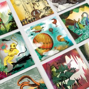 MonPetitArt MEGJOU1 Μεγάλο Παιχνίδι Μνήμης με τα Ταξίδια του Ιούλιου Βέρν - 40 κάρτες