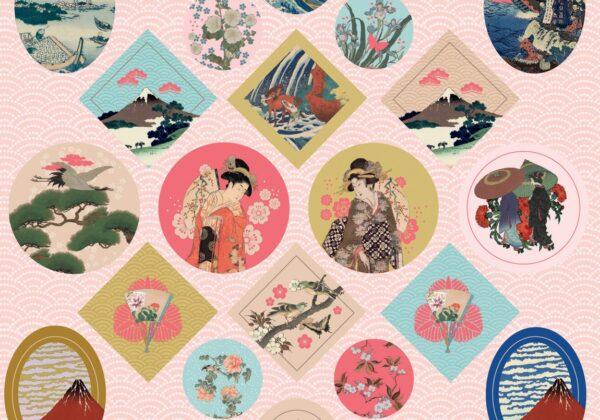 Εμπνευσμένο από τα αριστουργήματα των Ιαπωνικών Εκτυπώσεων Καταπληκτικά αυτοκόλλητα που εμπνέονται ελεύθερα από τις ιαπωνικές εκτυπώσεις, για να δώσουν μια μοναδική αφή στα αντικείμενα και στα χαρτικά. Katsushika Hokusai, Utagawa Hiroshige, Utagawa Kuniyoshi, Kitagawa Utamaro, Suzuki Harunobu, Utagawa Toyokuni.