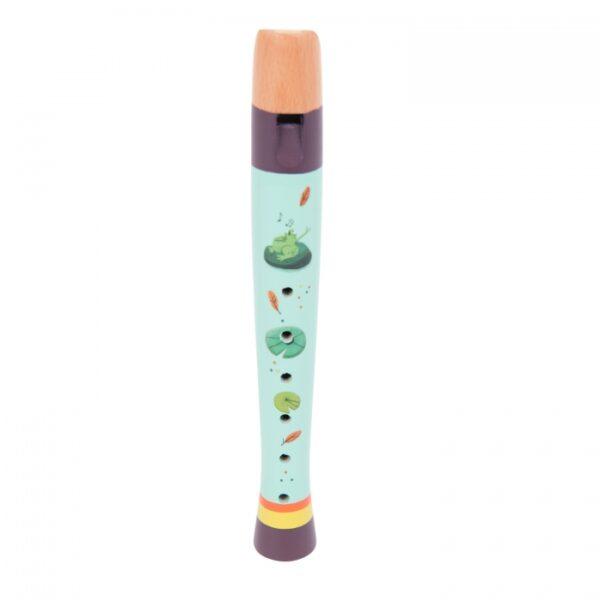 Ξύλινο φλάουτο 6 οπών, χρωματισμένο με πράσινο και μοβ της θάλασσας, με χαρούμενες και χορευτικές εικόνες με ζωγραφισμένα φτερά και κομφετί. Θα βοηθήσει το παιδί σας να αναπτύξει ρυθμό και μουσική επίγνωση, και να προσαρμοστεί σε μικρά χέρια από 2 ετών.