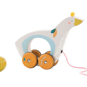 moulin roty 714101 Τρεχαλίτσα Ξύλινη - η Χήνα και το αυγό της